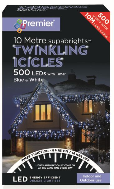 Products 500 Twinkling Icicle Lights With Timer Blue White